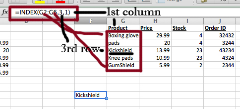 Index excel screenshot