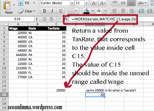 Index and match in excel 2010
