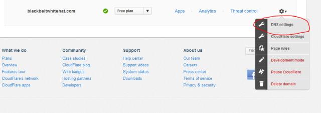DNS setting cloudfare