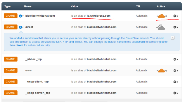 DNS Settings Cloudfare