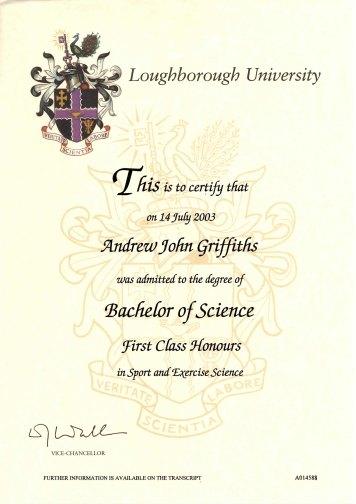 SPort Science certificate