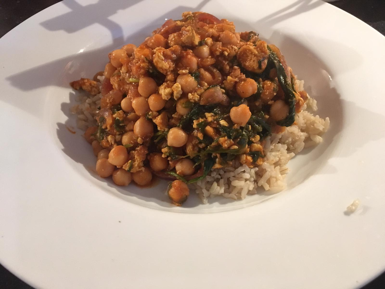 tofu, chickpeas & rice
