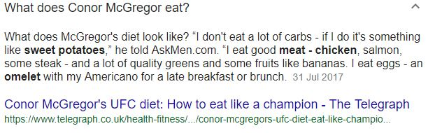 what does conor eat