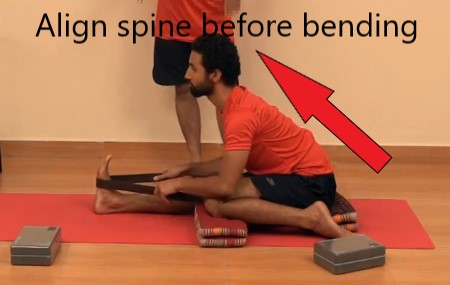 spine alignment for yoga pose